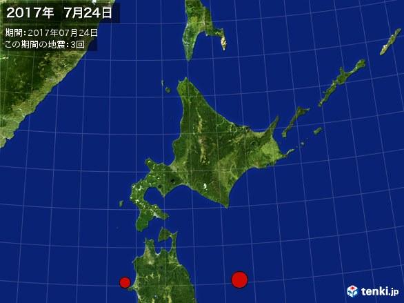 北日本・震央分布図(2017年07月24日)