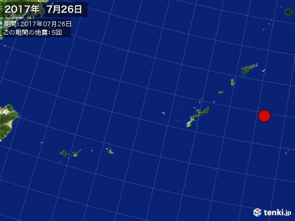 沖縄・震央分布図(2017年07月26日)