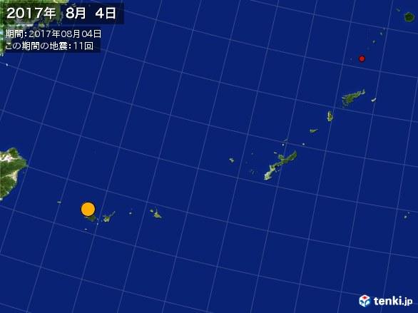 沖縄・震央分布図(2017年08月04日)
