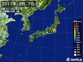 2017年08月07日の震央分布図