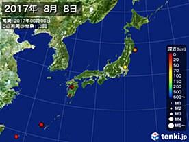 2017年08月08日の震央分布図