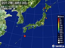 2017年08月13日の震央分布図