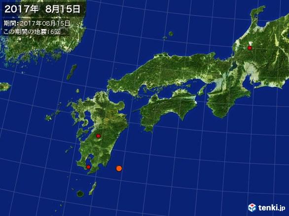 西日本・震央分布図(2017年08月15日)