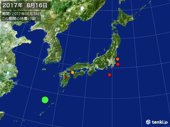 日本全体・震央分布図(2017年08月16日)