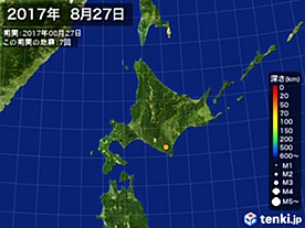 2017年08月27日の震央分布図