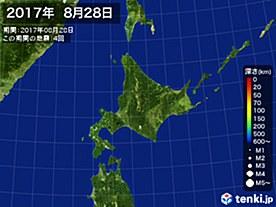 2017年08月28日の震央分布図
