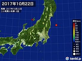 2017年10月22日の震央分布図