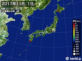 2017年11月01日の震央分布図