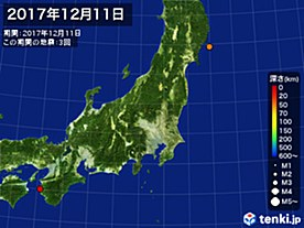 2017年12月11日の震央分布図