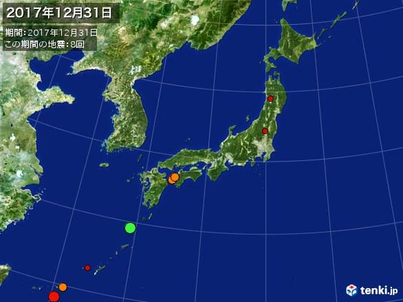 日本全体・震央分布図(2017年12月31日)
