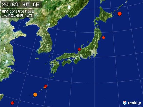 日本全体・震央分布図(2018年03月06日)