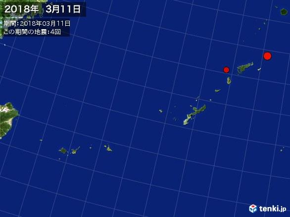 沖縄・震央分布図(2018年03月11日)