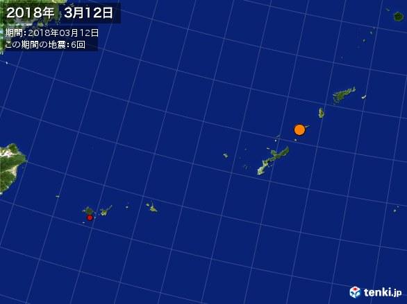 沖縄・震央分布図(2018年03月12日)