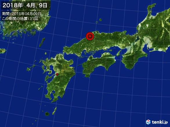西日本・震央分布図(2018年04月09日)
