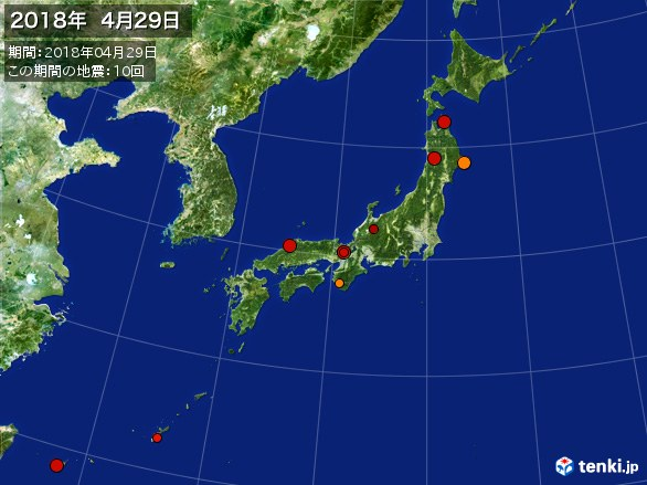 日本全体・震央分布図(2018年04月29日)