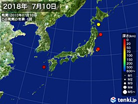 2018年07月10日の震央分布図
