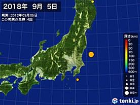 2018年09月05日の震央分布図