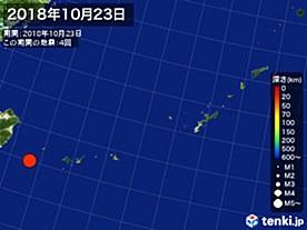 2018年10月23日の震央分布図