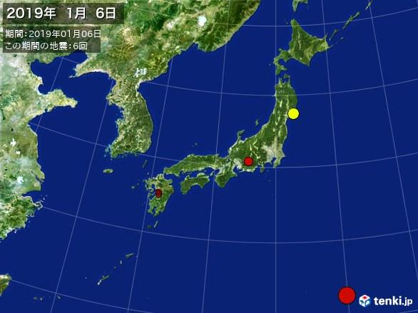 日本全体・震央分布図(2019年01月06日)