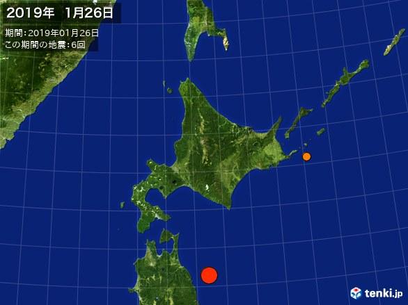 北日本・震央分布図(2019年01月26日)
