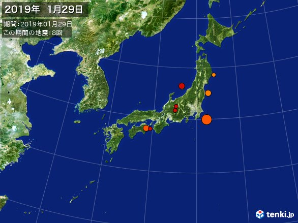 日本全体・震央分布図(2019年01月29日)