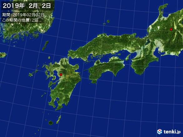 西日本・震央分布図(2019年02月02日)