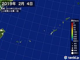 2019年02月04日の震央分布図