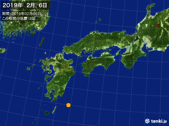西日本・震央分布図(2019年02月06日)