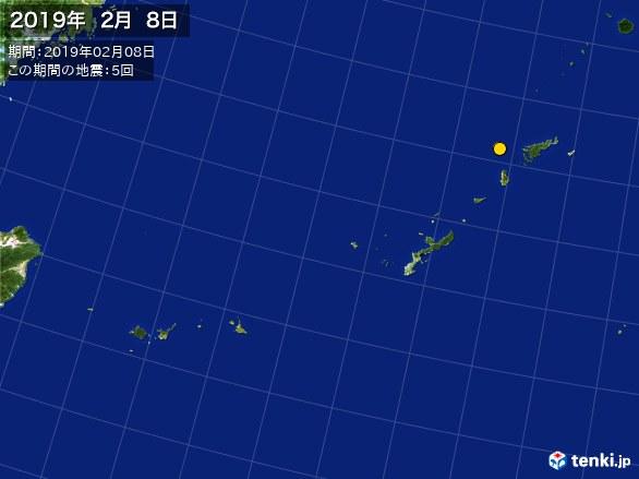 沖縄・震央分布図(2019年02月08日)