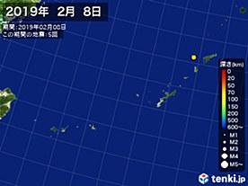 2019年02月08日の震央分布図