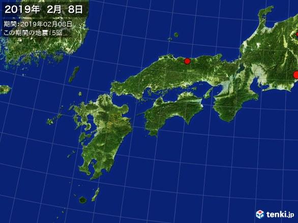 西日本・震央分布図(2019年02月08日)