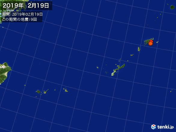 沖縄・震央分布図(2019年02月19日)