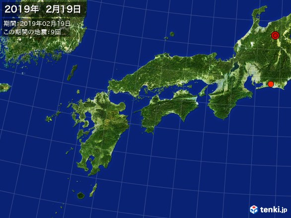 西日本・震央分布図(2019年02月19日)