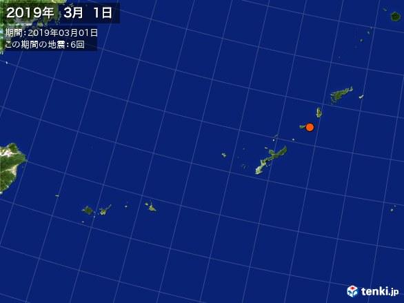 沖縄・震央分布図(2019年03月01日)