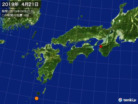 西日本・震央分布図(2019年04月21日)