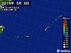 2019年05月08日の震央分布図