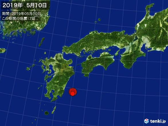 西日本・震央分布図(2019年05月10日)