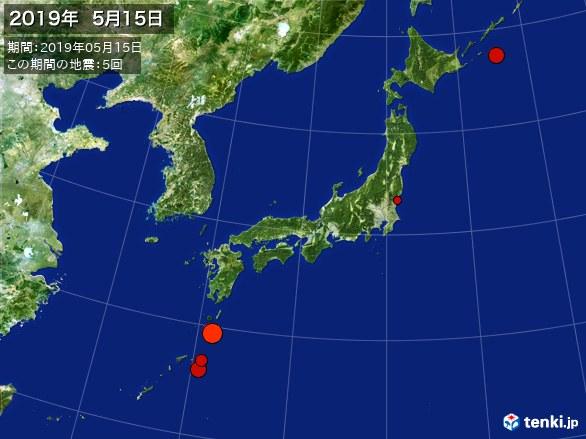 日本全体・震央分布図(2019年05月15日)