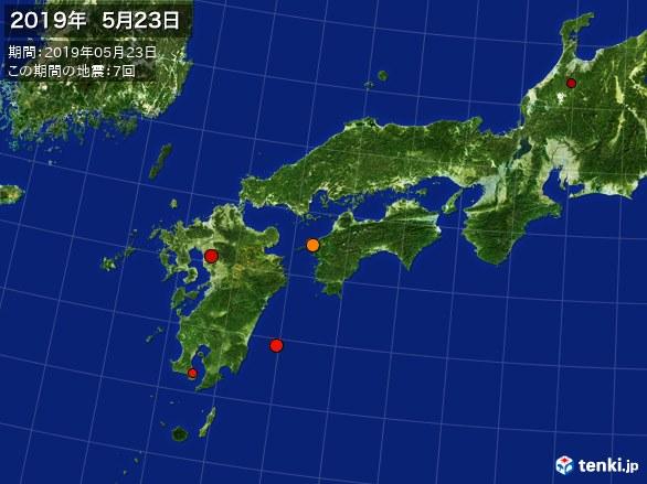 西日本・震央分布図(2019年05月23日)