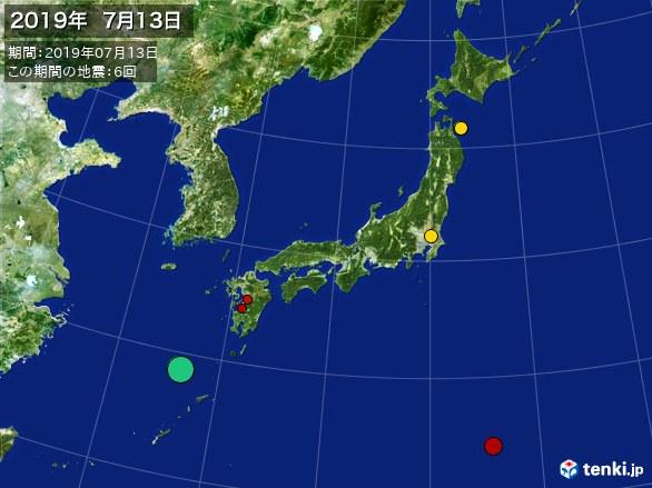 日本全体・震央分布図(2019年07月13日)