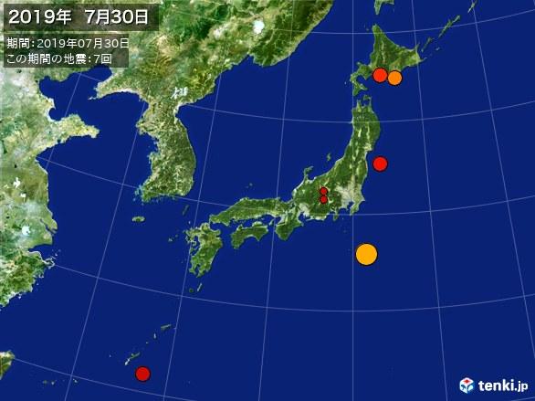 日本全体・震央分布図(2019年07月30日)