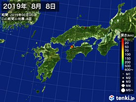 2019年08月08日の震央分布図