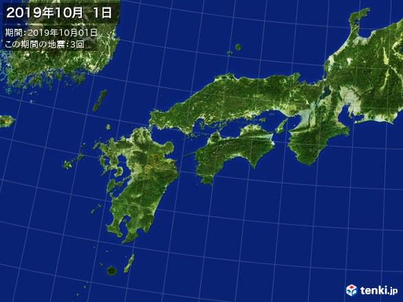 西日本・震央分布図(2019年10月01日)
