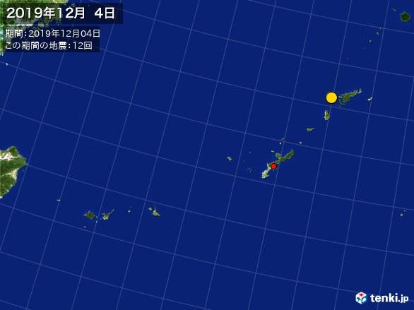 沖縄・震央分布図(2019年12月04日)