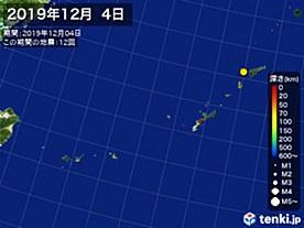 2019年12月04日の震央分布図