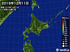 2019年12月11日の震央分布図
