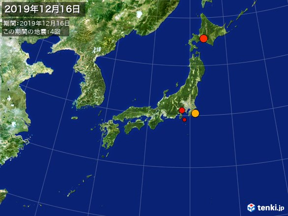 日本全体・震央分布図(2019年12月16日)