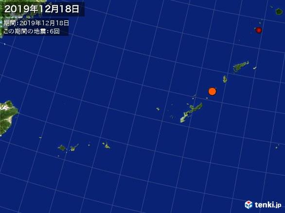 沖縄・震央分布図(2019年12月18日)