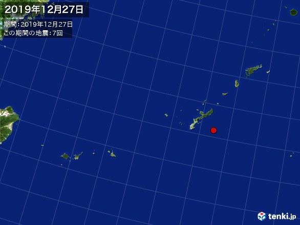 沖縄・震央分布図(2019年12月27日)