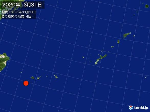 沖縄・震央分布図(2020年03月31日)